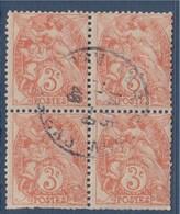 = Bloc De 4 Timbres Type Blanc 3c Orange Oblitéré N°109 - 1900-29 Blanc