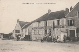 Rare Cpa St Barthélemy Route De Montmirail Marchand De Vins Restaurant Arnoult Animée - Altri Comuni