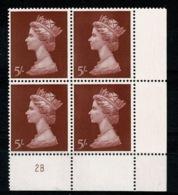 Ref 1336 - GB 1969 High Value Machin 5/= Red MNH SG 788 - Cylinder Block 2B - 1952-.... (Elizabeth II)