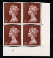 Ref 1336 - GB 1969 High Value Machin 5/= Red MNH SG 788 - Cylinder Block 2A - 1952-.... (Elizabeth II)