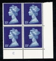 Ref 1336 - GB 1969 High Value Machin 10/= Blue MNH SG 789 - Cylinder Block 1C - 1952-.... (Elizabeth II)