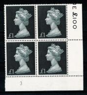 Ref 1336 - GB 1969 High Value Machin £1 Black MNH SG 790 - Cylinder Block 3 - 1952-.... (Elizabeth II)