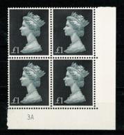 Ref 1336 - GB 1969 High Value Machin £1 Black MNH SG 790 - Cylinder Block 3A - 1952-.... (Elizabeth II)