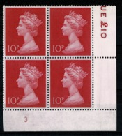 Ref 1336 - GB 1970 High Value Machin 10p Cerise MNH SG 829 - Cylinder Block 3 - 1952-.... (Elizabeth II)