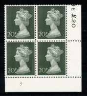 Ref 1336 - GB 1970 High Value Machin 20p Green MNH SG 830 - Cylinder Block 3 - 1952-.... (Elizabeth II)