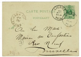 Ref 1337 - 1884 Belgium Postal Sationery Card - Lierre To Bruxelles - Stamped Stationery