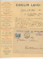 1912 VARESE COMO DC + BUSTA PUBBLICITARIA COGLIA ARTICOLI SELLERIA E CARROZZERIA - Storia Postale