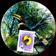 BIRDS-HORNBILLS-PROTECT WILD BIRDS-BOMBAY NATURAL HISTORY SOCIETY-MOUNTED ON ROUND LABEL-SCARCE-MSE-157 - Specht- & Bartvögel