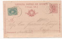 1897 UGENTO LECCE CERCHIO GRANDE SU CARTOLINA POSTALE UMBERTO 7, 1/2 INTEGRATA 0,05 STEMMA - 1878-00 Umberto I