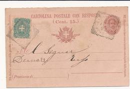 1899 ROCCADASPIDE SALERNO DA CASTEL S LORENZO TONDO RIQUADRATO  SU CARTOLINA POSTALE UMBERTO 7, 1/2 INTEGRATA 0,05 STEMM - 1878-00 Umberto I