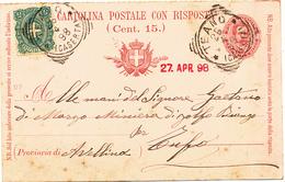 1898 TEANO CASERTA TONDO RIQUADRATO  SU CARTOLINA POSTALE UMBERTO 7, 1/2 INTEGRATA 0,05 STEMM - 1878-00 Umberto I