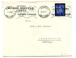 Advokat Edo Neufeld, Zagreb Company Letter Cover Posted 1935 To Germany B200210 - Croatie