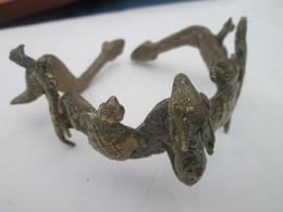 Afrique - Ancien Bracelet Ethnique Bronze Animaux Fennec Tortue Caïman Serpent - African Art