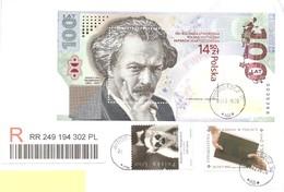 POLONIA - 2020 Raccomandata Per L'estero Con 3 Francobolli (2019 Ignacy Jan Paderewski, 2016 Soc. Biblica, 2005 Scimmia) - 1944-.... Repubblica