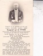 TIELT Burggraaf Aloys Van De VYVERE époux De NEEFF Ancien Ministre Ministre D'Etat 1871-1961 DP Foto - Décès