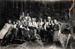 Carte Photo Originale Groupe D'Individus En Forêt, Allemagne En 1920/30 - Famille Ou Pas ! - Personnes Anonymes