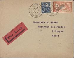 YT 257 + Merson 145 CAD Obiltération Temporaire Poste Aérienne Vincennes 1929 19 5 29 Pour Maroc Avion Aviation - Luchtpost