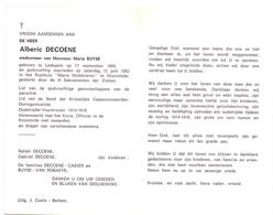 Devotie Doodsprentje Overlijden - Oudstrijder Alberic Decoene - Ledegem 1895 - Moorslede 1982 - Todesanzeige