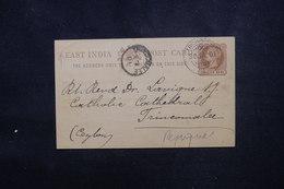INDE - Entier Postal De Trichinopoly ( Repiquage Religieux ) Pour Ceylan En 1901, Oblitérations à Voir - L 52954 - 1882-1901 Imperium
