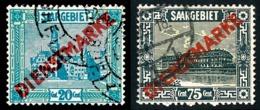 SARRE 1922-24 - Yv. Service 7 Et 14 Obl.   Cote= 3,65 EUR - 2 Timbres Surchargés DIENSTMARKE  ..Réf.DIV20224 - Service