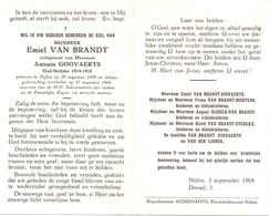 Devotie Doodsprentje Overlijden - Oudstrijder Emiel Van Brandt - Nijlen 1884 - 1964 - Décès