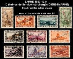SARRE 1927-34 - Yv. Service 16 à 26 Sauf 17 Obl. Ou *   Cote= 13,00 EUR - 10 Timbres Surchargés DIENSTMARKE  ..Réf.DIV20 - Officials