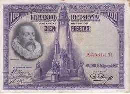 BILLETE DE 100 PTAS DEL AÑO 1928 SERIE A EN CALIDAD MBC (VF)  (BANKNOTE) - [ 1] …-1931 : Premiers Billets (Banco De España)
