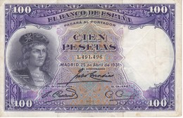 BILLETE DE ESPAÑA DE 100 PTAS DEL AÑO 1931 BC SIN SERIE  (BANKNOTE) - [ 2] 1931-1936 : Republiek