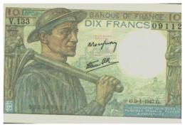 BILLET NEUF 10 FRANCS MINEUR G . 9=1=1947.G.  PAS CIRCULE PAPIER RIGIDE - 10 F 1941-1949 ''Mineur''