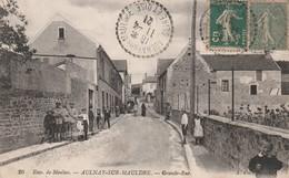 Rare Cpa Aulnay Sur Mauldre Grande Rue Très Animée - Frankreich
