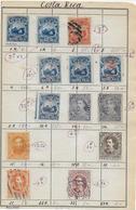 1862/1889 - COSTA RICA - PETIT LOT BONNES VALEURS Sur FEUILLE CARNET ANCIEN De CIRCULATION - COTE > 100 EUR. - Costa Rica