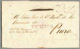 Beleg 1827, Letter Envelope From TRUJILLO To PIURA, With Red Cancel TRUGILIO, Very Fresh, Very Rare, XF!. Estimate 900€. - Peru