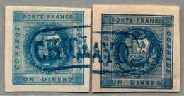 Gest. 1858, 1 D., Blue And Deep Blue, Lot Of (2), Both With BLUE Cancel CHICLAYO (Coeff. 8 - See G. Lamy Peru Cancellati - Peru