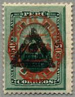 * 1883, 50 C., Green, Scott 84, Black Triangle And Red Oval PERU Opt, One Short Tooth, MH, F!. Estimate 190€. (Michel: 5 - Peru