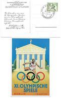 """1618v: Propagandakarte Olympiade Berlin 1936 Mit Rs. Aufdruck """"Österreichischer Olympia- Fond"""" - 1918-1945 1. Republik"""