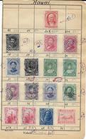 1864/1899 - HAWAII - PETIT LOT BONNES VALEURS Sur FEUILLE CARNET ANCIEN De CIRCULATION - COTE > 200 EUR. - Hawaï