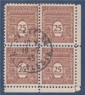 = Bloc De 4 Timbres Arc De Triomphe De L'Etoile Oblitéré N°622 Le 25c Brun-jaune Coin De Feuille - 1944-45 Arco Del Triunfo