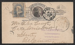 1889 U.S PSC 1 C + SUPPL. 1C SALTSBURGH To GAND, BELGIUM. Written By Early A.P.A Member 13 - 1847-99 Emissions Générales