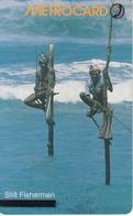 TARJETA CON CHIP DE SRY LANKA DE Rs.150 DE METROCARD DE UNOS PESCADORES (STILT FISHERMEN) - Sri Lanka (Ceilán)