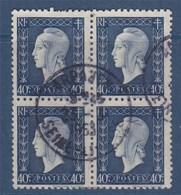 = Bloc De 4 Timbres Série De Londres Marianne De Dulac Oblitéré N°684 Le 40c Bleu-noir - 1944-45 Maríanne De Dulac
