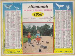 Calendrier 1958 ALMANACH Des Postes, Télégraphes Et Téléphones / Pigeons De Paris (Enfants) / Chemin De Fer Et Métro - Calendriers