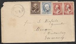 1886 US 5c, 2c(2), 1c COVER BERNSTADT (KENTUCKY) To MENGEN, GERMANY. PEN CANCEL. VERY SMALL P.O - 1847-99 Emissions Générales
