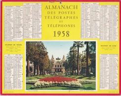 Calendrier 1958 ALMANACH Des Postes, Télégraphes Et Téléphones / Casino De MONTE-CARLO - Calendriers