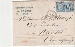 Lettre Avec Classiques De France: Cérès N°60 Paire /Caoutchouc Anglais Paris Pour Nantes - 1871-1875 Ceres