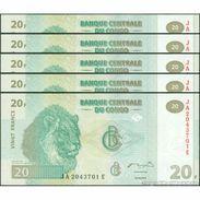 TWN - CONGO DEM. REP. 94 - 20 Francs 30.6.2003 DEALERS LOT X 5 JA-E (HdM) UNC - Congo