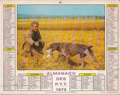 Calendrier 1973 ALMANACH Des P.T.T. / LA PECHE Et LA CHASSE AU PERDREAU / AVEYRON - Calendriers