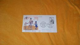 ENVELOPPE FDC DE 1956../ BASKET - BALL...CACHETS PREMIER JOUR MULHOUSE..+ TIMBRE - 1950-1959