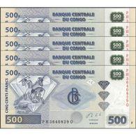 TWN - CONGO DEM. REP. 96b - 500 Francs 30.6.2013 DEALERS LOT X 5 - PH XXXXXXX Q - Printer: G&D, Germany UNC - Democratic Republic Of The Congo & Zaire