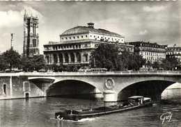 CPSM Grand Format PARIS  Le Pont Au Change Batellerie Peniche  RV - De Seine En Haar Oevers