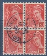= Bloc De 4 Timbres Type Mercure Oblitéré N°412 Le 30c Rouge - 1938-42 Mercurio